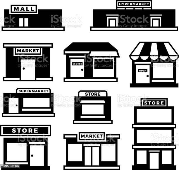 Mall And Shop Building Icons Shopping And Retail Pictograms Supermarket Store Exterior Vector Black Symbols Isolated - Arte vetorial de stock e mais imagens de Ao Ar Livre