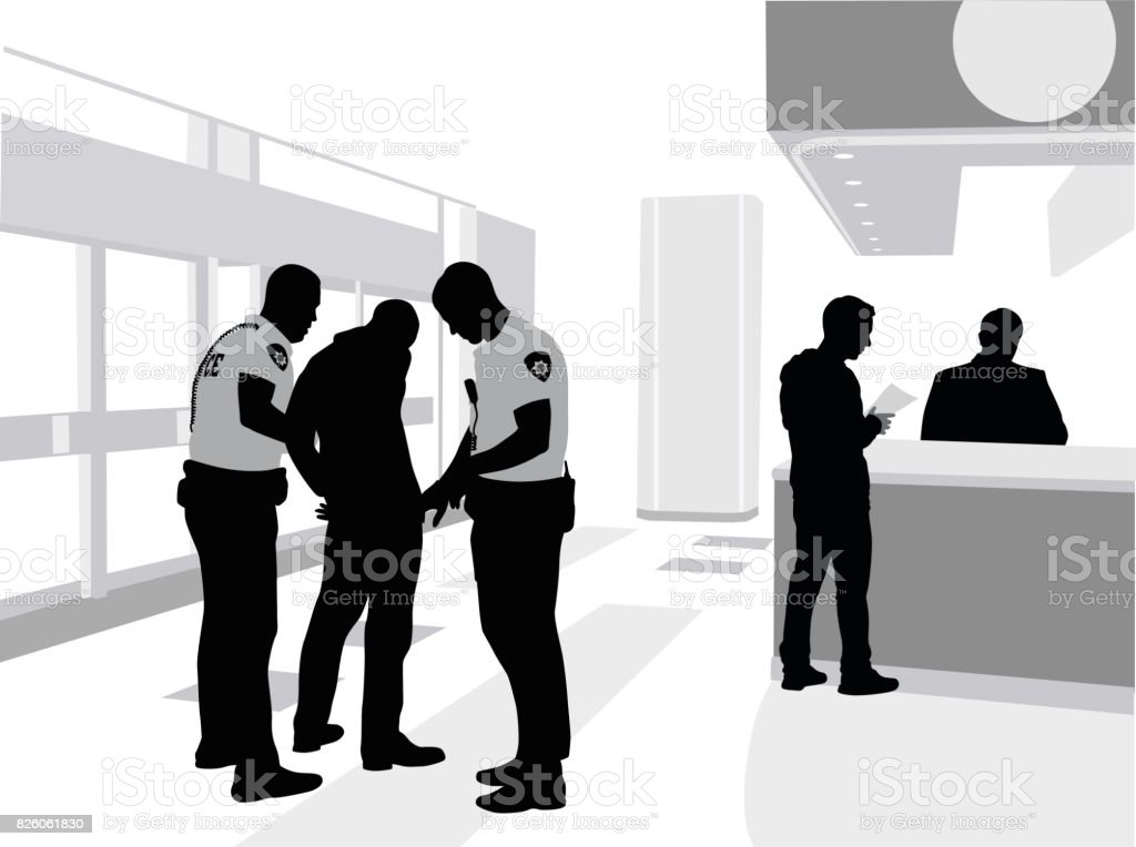 Mall Arrest vector art illustration