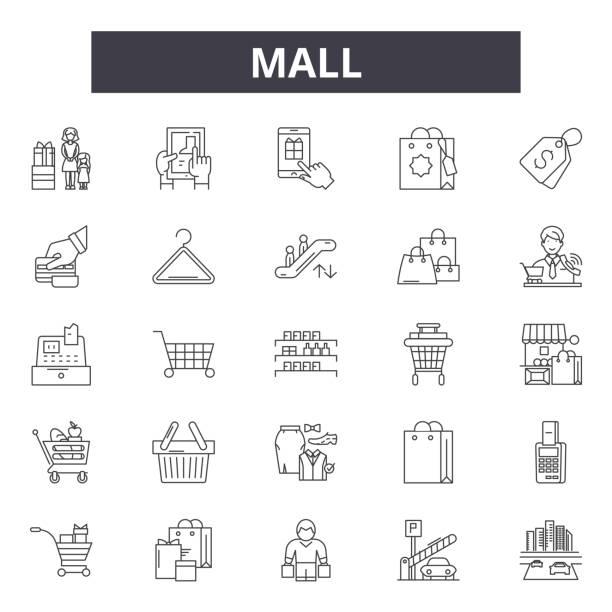 ilustrações, clipart, desenhos animados e ícones de linha ícones da alameda, sinais, jogo do vetor, conceito linear, ilustração do esboço - shopping