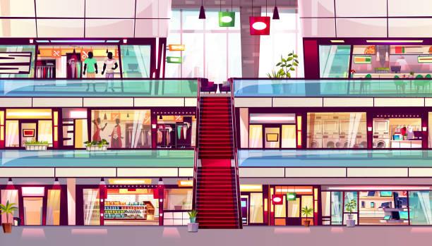 stockillustraties, clipart, cartoons en iconen met mall winkels roltrap interieur vector illustratie - warenhuis