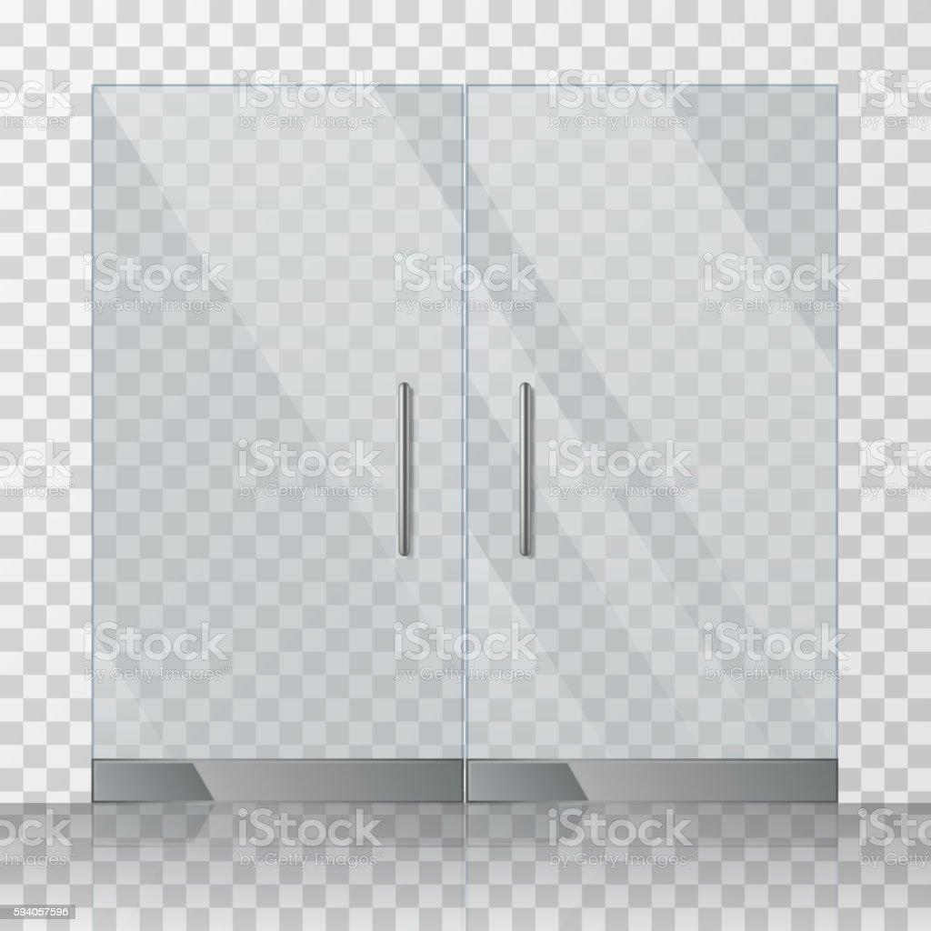 Mall, store glass doors vector illustration vector art illustration