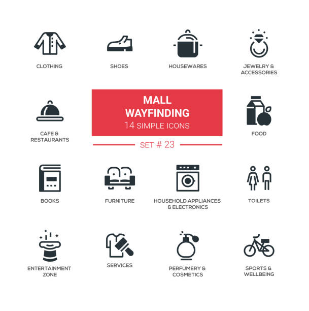 mall wayfinding - modern simple icons, pictograms set - wayfinding icons stock illustrations, clip art, cartoons, & icons