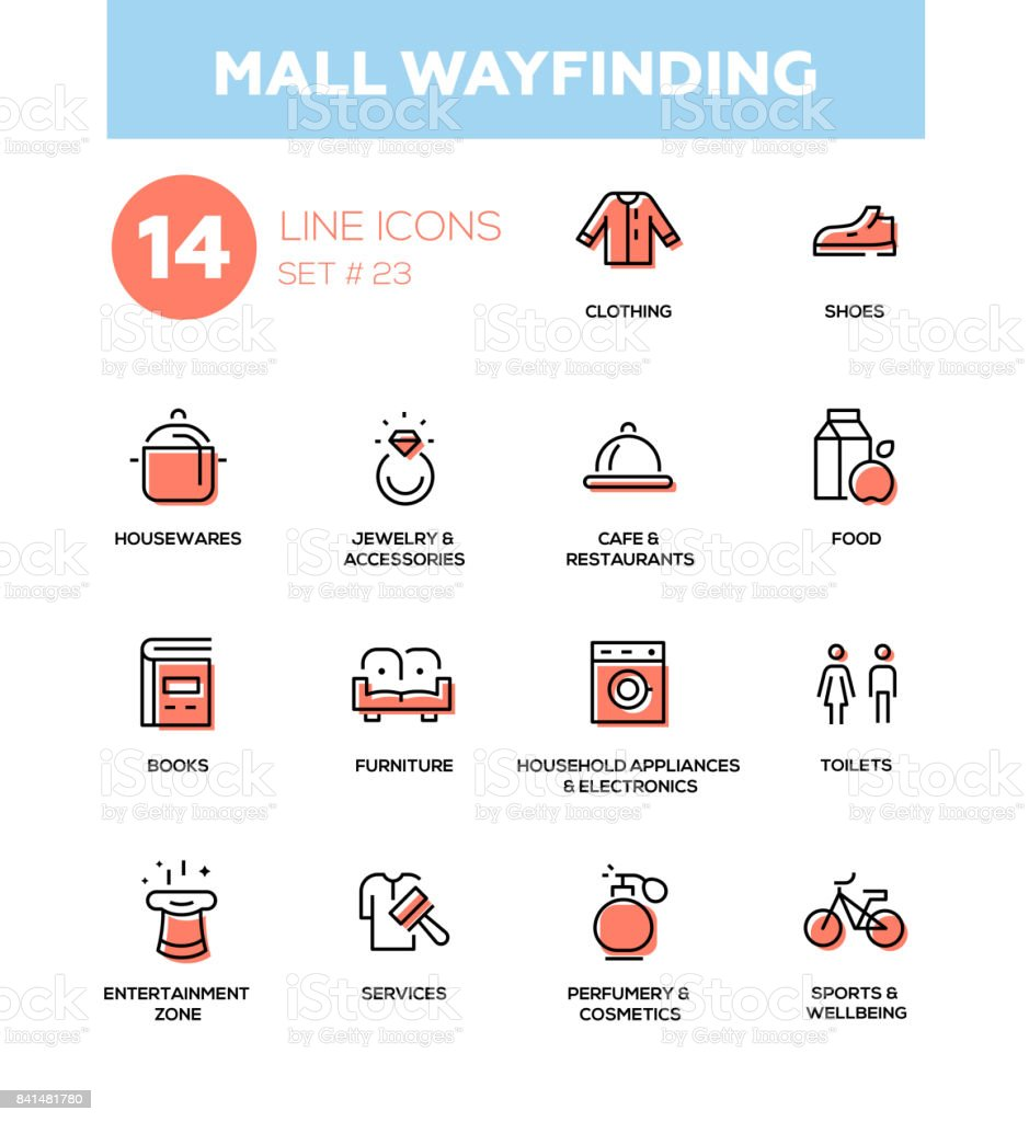 Mall wayfinding - modern simple icons, pictograms set vector art illustration