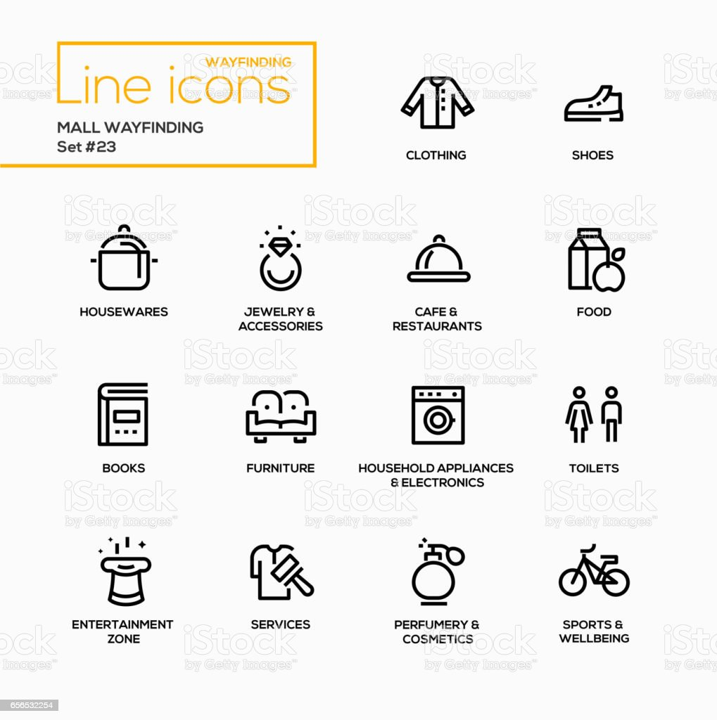 Mall Wayfinding - modern vector single line icons set vector art illustration