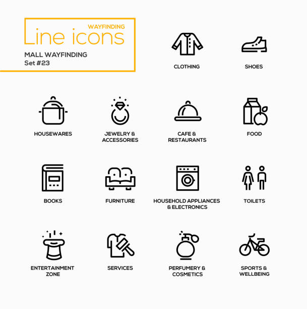 mall wayfinding - modern vector single line icons set - wayfinding icons stock illustrations, clip art, cartoons, & icons