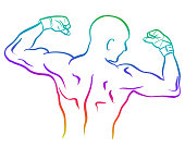 MMA fighter showing his back and arms muscles and wearing wraps around his hands.  Sketch vector illustration.