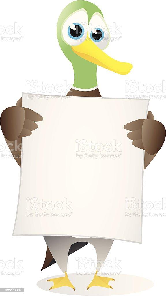 Mallard holding a large blank banner royalty-free stock vector art