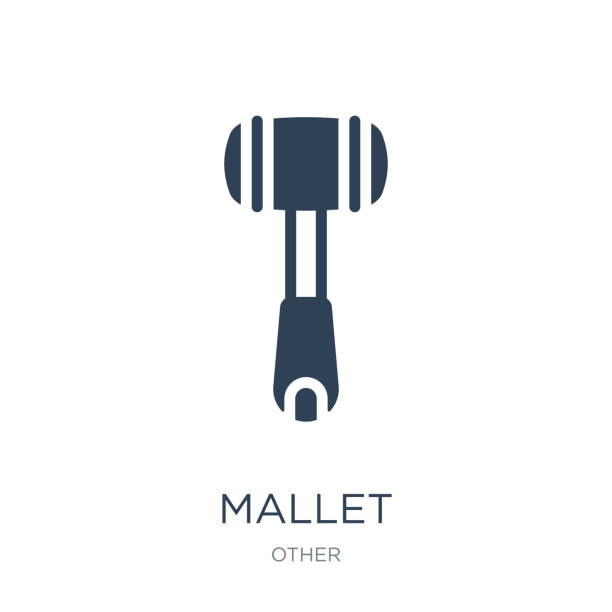 mallet icon vector on white background, mallet trendy filled ico vector art illustration
