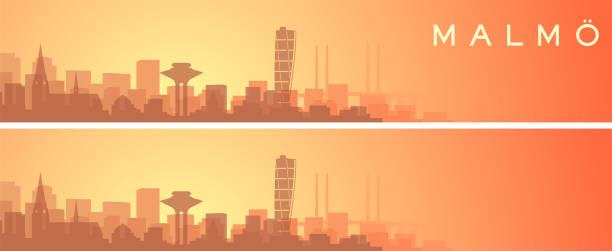 bildbanksillustrationer, clip art samt tecknat material och ikoner med malmö vacker skyline landskap banner - malmö