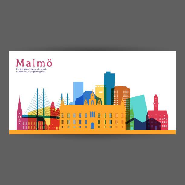 bildbanksillustrationer, clip art samt tecknat material och ikoner med malmö färgglada arkitekturen vektorillustration, skyline stadens silhuett, skyskrapa, platt design. - malmö