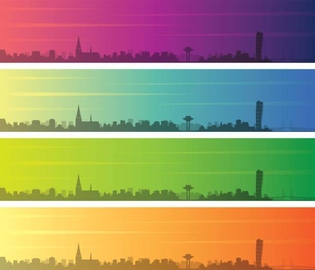 malmö mehrere farbe farbverlauf skyline banner - ostsee stock-grafiken, -clipart, -cartoons und -symbole