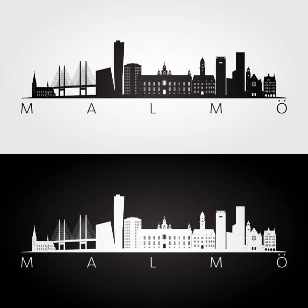 bildbanksillustrationer, clip art samt tecknat material och ikoner med malmö skyline och sevärdheter siluett, svart och vit inredning, vektorillustration. - malmö