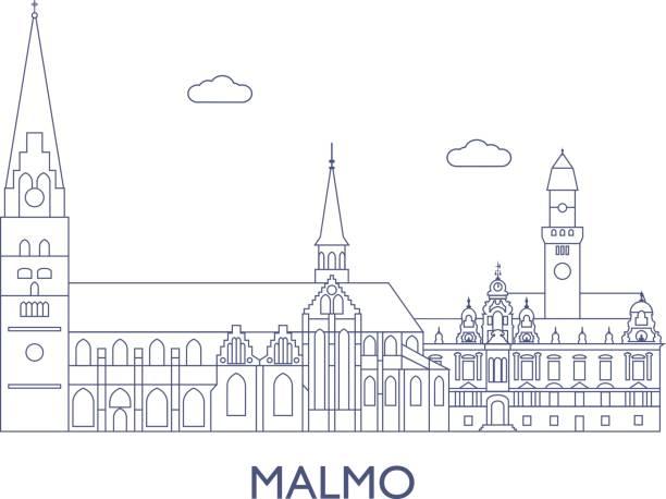 bildbanksillustrationer, clip art samt tecknat material och ikoner med malmö, de mest kända byggnaderna i staden - malmö