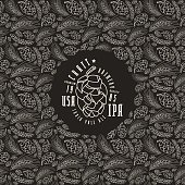 Malt and cone hop pattern. Craft beer brewery label. White print on black background