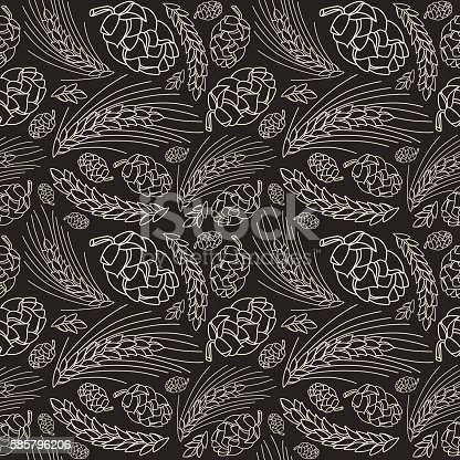 istock Malt and cone hop seamless pattern 585796206