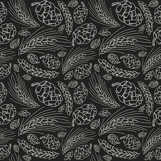 Malt and cone hop seamless pattern vector art illustration