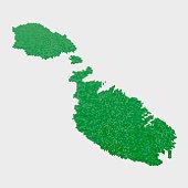 Malta Country Map Green Hexagon Pattern