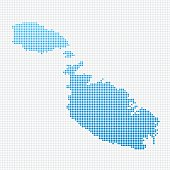Malta Map Blue Dot Pattern