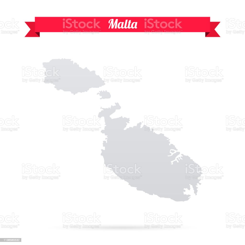 Malta Map On White Background With Red Banner Stock Vector Art ... on