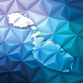 Map of Malta on a modern geometric background - Low Poly vector map.