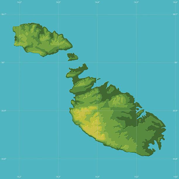 Malta Topographic Relief Vector Map Vector Topographic Map of Malta, Mediterranean Sea.  vector map green stock illustrations