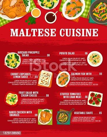 istock Maltese cuisine vector menu template, Malta meals 1329138550