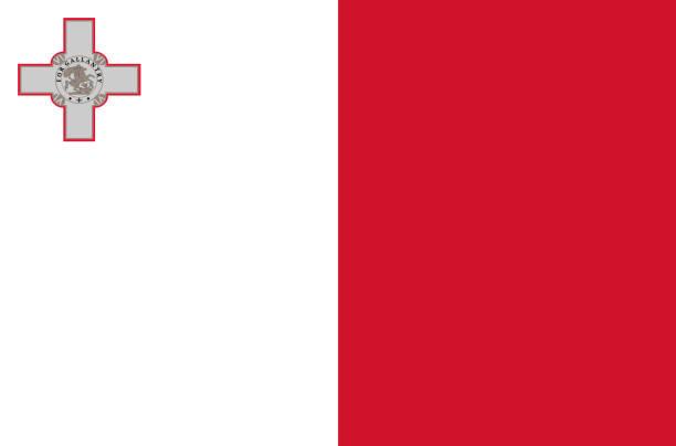 몰타어 국가 플래그. 몰타, 정확한 색상, 트루 컬러의 공식 국기 - 몰타 stock illustrations