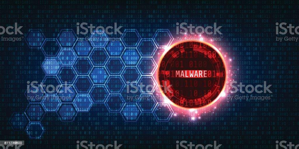 Malware and Secure Data Concept.Abstract Technology and Security with Binary code Background vector art illustration