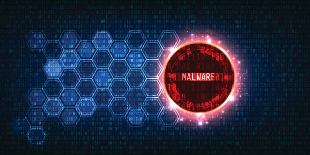 Malware and Secure Data Concept.Abstract Technology and Security with Binary code Background Malware and Secure Data Concept.Abstract Technology and Security with Binary code Background computer virus stock illustrations