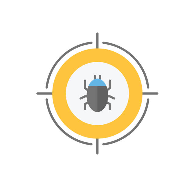 Malware bug in target vector icon. Network Vulnerability - Virus, Malware, Ransomware, Fraud, Spam, Phishing, Email Scam, Hacker Attack - IT Security Concept Design, Vector illustration vector art illustration