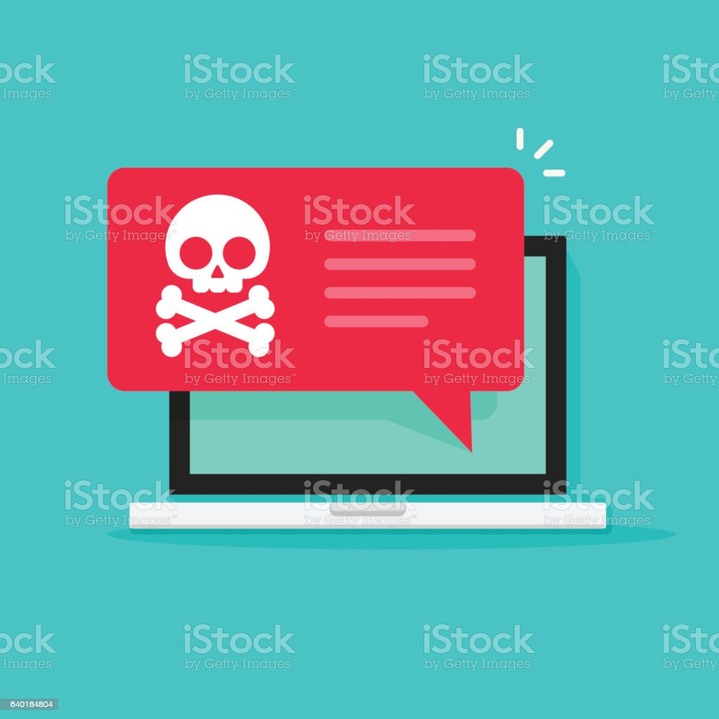 Malware notification on laptop vector, spam data, fraud internet virus vector art illustration