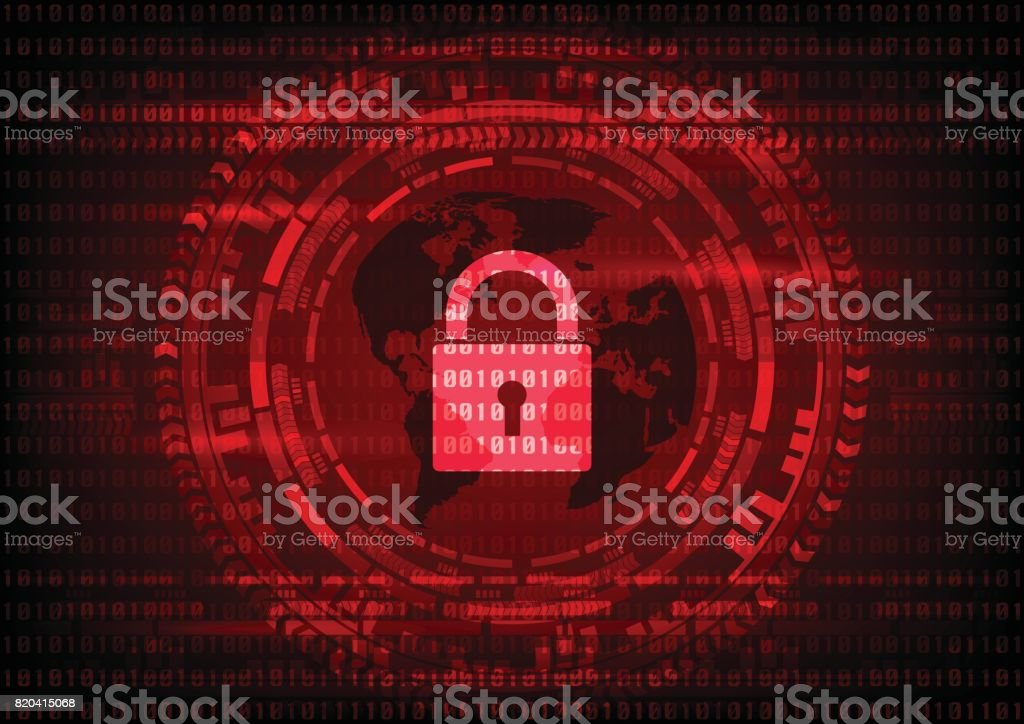 Malware Ransomware virus encrypted files and show key lock with world map on binary code and gear background. Vector illustration cybercrime and cyber security concept. vector art illustration