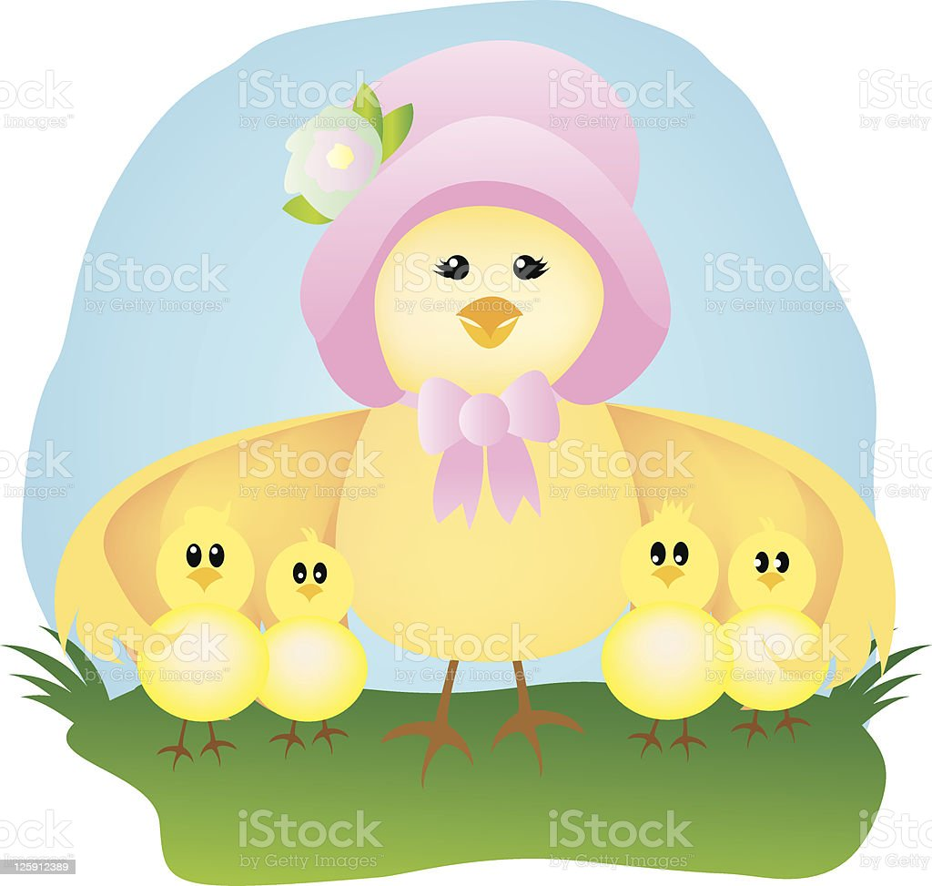 Mama and Her Baby Chicks vector art illustration
