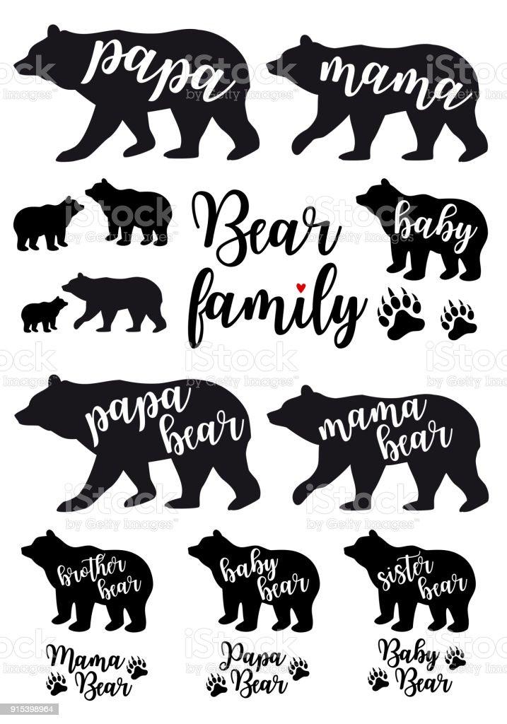 Mama bear, papa bear, baby bear, vector set