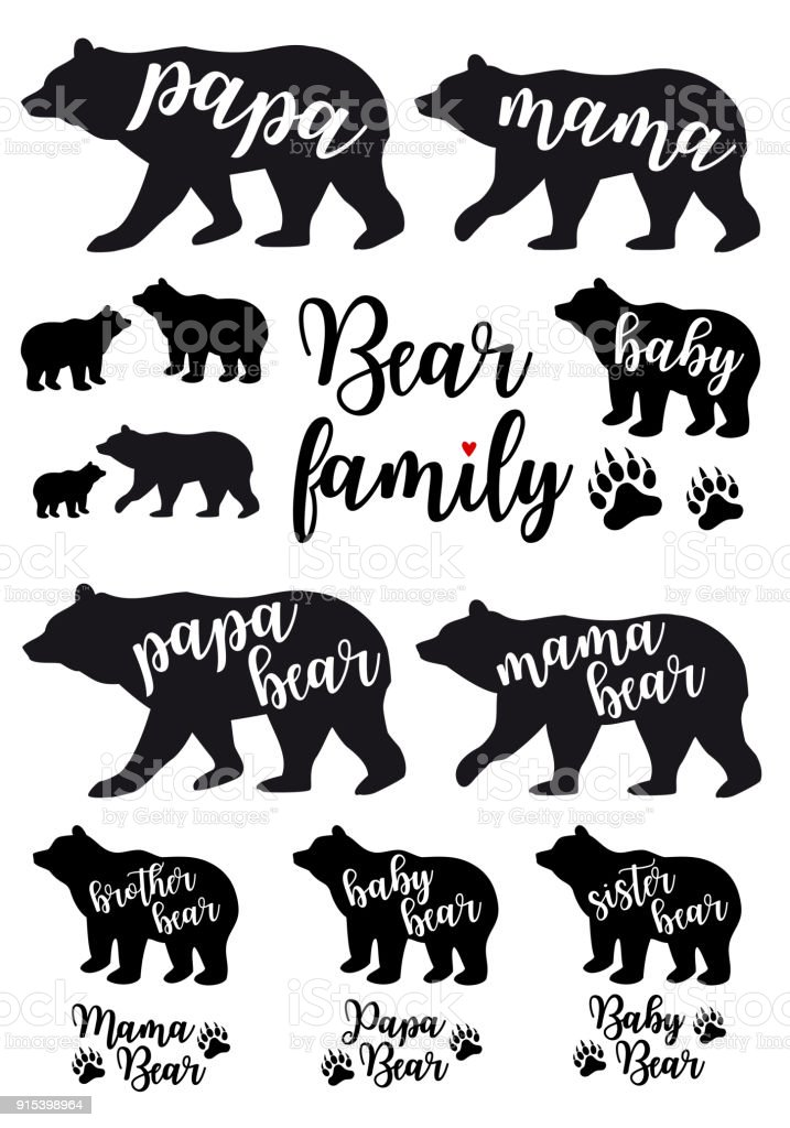 Mama bear, papa bear, baby bear, vector set vector art illustration