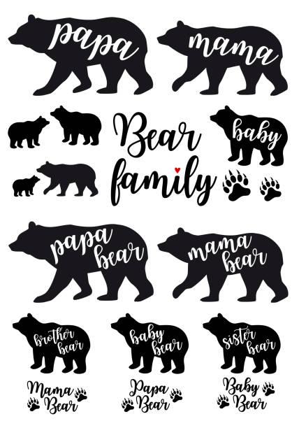 mama bear, papa bear, baby bear, vector set - bear stock illustrations