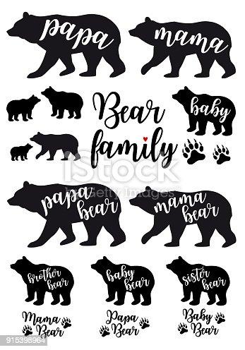 Mama Bear Papa Bear Baby Bear Vector Set Stock Vector Art