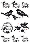 mama bird, papa bird, baby, family, set of vector graphic design elements