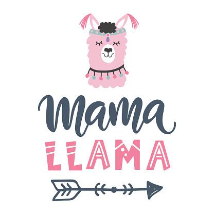 Mama Llama hand written modern calligraphy