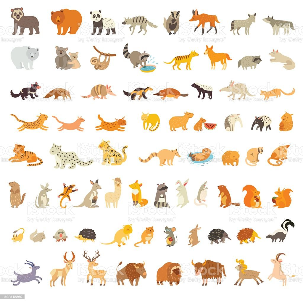 Mammals of the world. Extra big animals set vector art illustration
