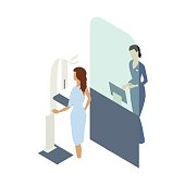 A female patient in a clinical gown undergoes a mammogram procedure using a medical scanner, while a technician stands behind a screen designed to protect her against radiation. Spot illustration uses a flat, slightly warm color palette and is presented in isometric view over a white background.