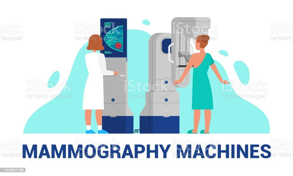 Mammography machines vector illustration of breast diagnosis vector art illustration