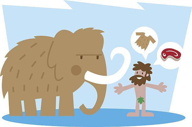 mammoth and caveman - eiszeit stock-grafiken, -clipart, -cartoons und -symbole