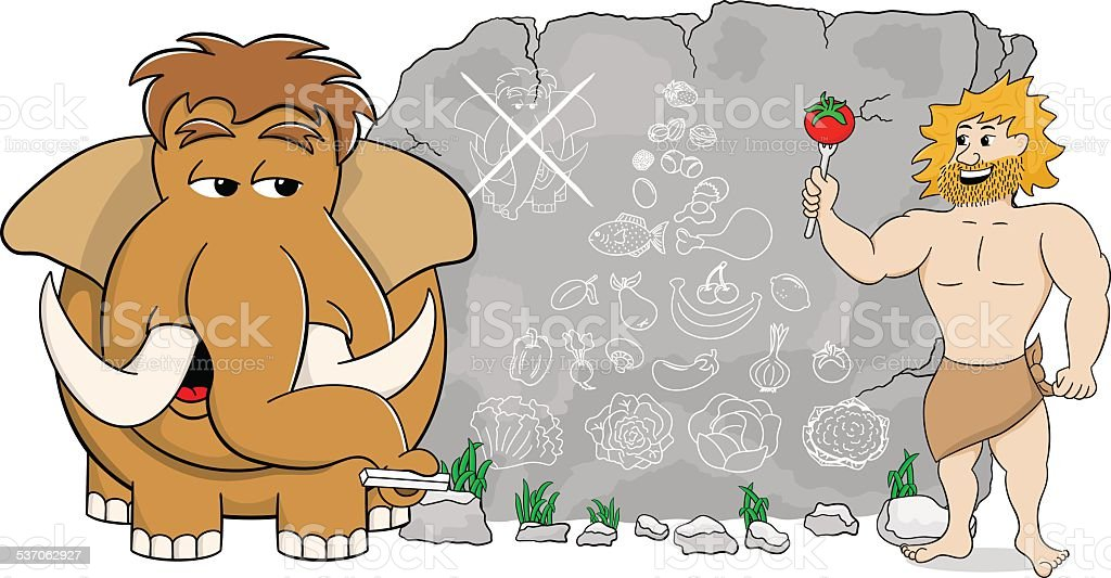 mammoth explains paleo diet using a food pyramid vector art illustration