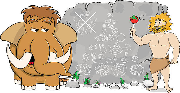 mammoth explains paleo diet using a food pyramid - paleo diet stock illustrations, clip art, cartoons, & icons