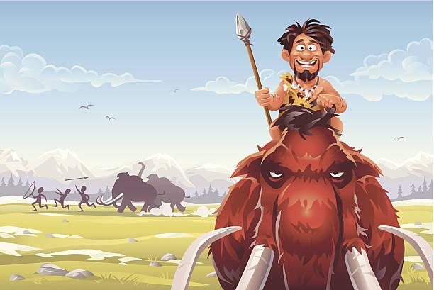 mammoth hunters - eiszeit stock-grafiken, -clipart, -cartoons und -symbole