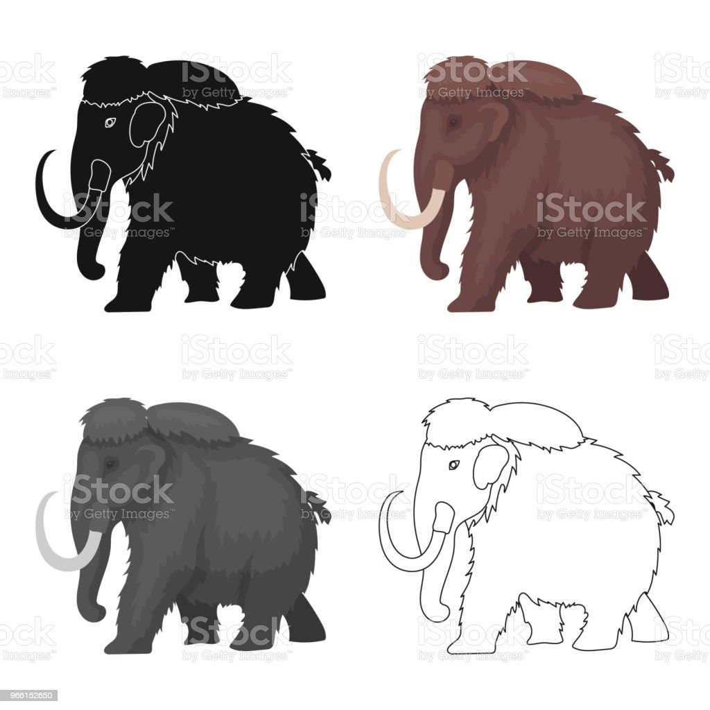 Mammoth icon in cartoon style isolated on white background. Dinosaurs and prehistoric symbol stock vector web illustration. - Royalty-free Abstract stock vector