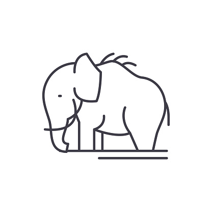 Mammoth line icon concept. Mammoth vector linear illustration, symbol, sign