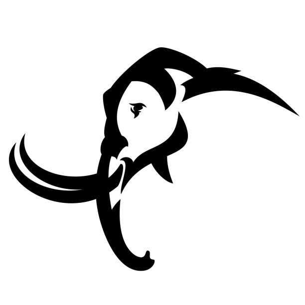mammut-profil-kopf schwarz vektor-design - eiszeit stock-grafiken, -clipart, -cartoons und -symbole