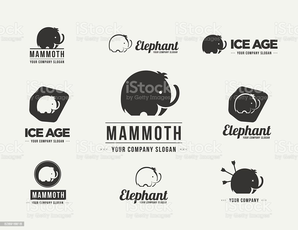 Mammoth silhouette vector badges set. Collection of the elephant symbols vector art illustration